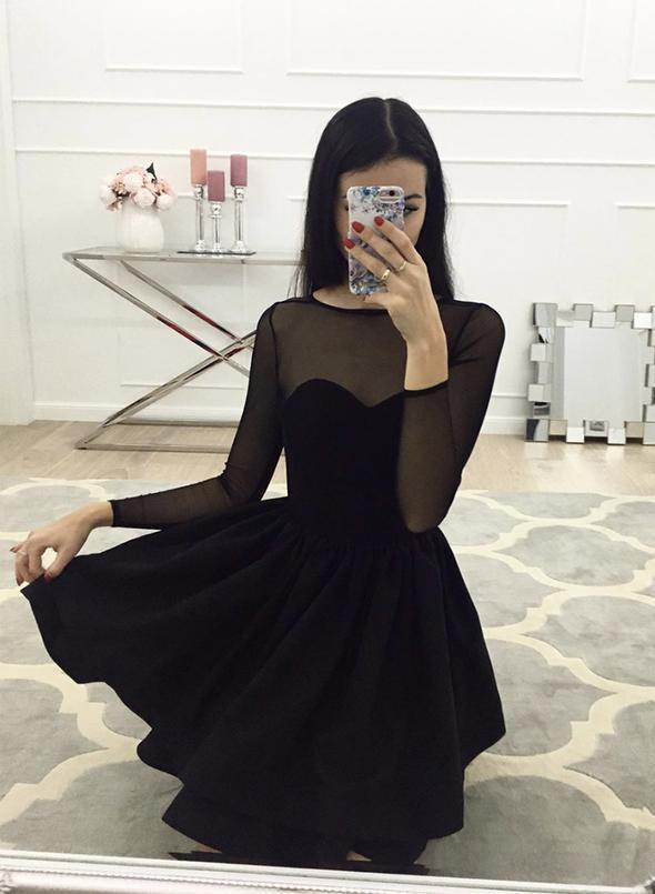 Black short prom dress long sleeve evening dress   ML6024