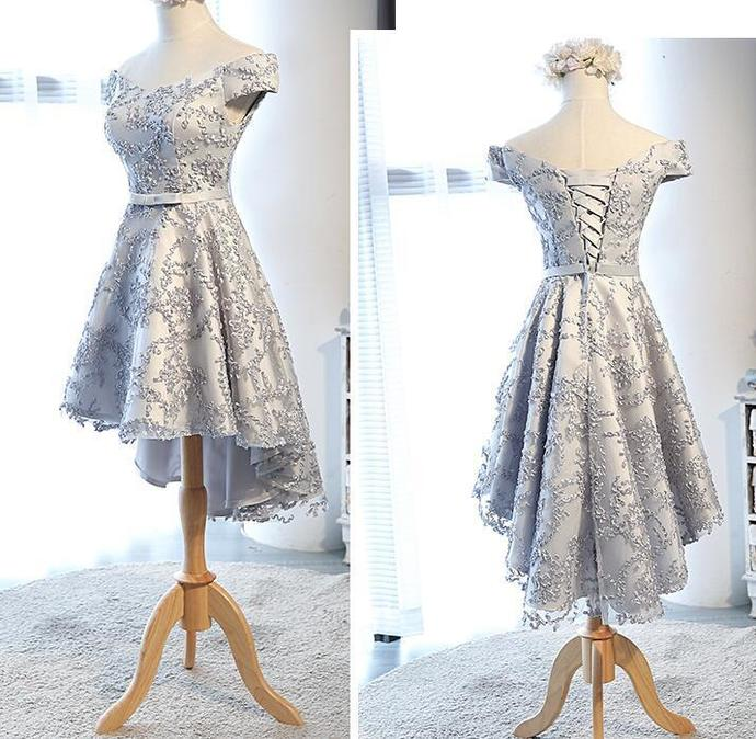 Lovely Light Grey Lace High Low Teen Party Dress, Fashionable Formal Dress
