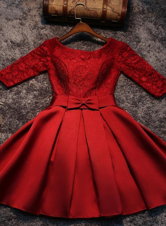 Cute Red Satin Short Prom Dress, Red Sweet 16 Party Dress  ML6028