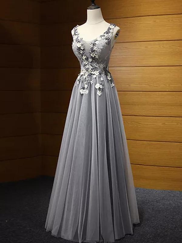 Beautiful Grey Scoop Floor Length Tulle Prom Dress,Wedding Party Dress   ML6029