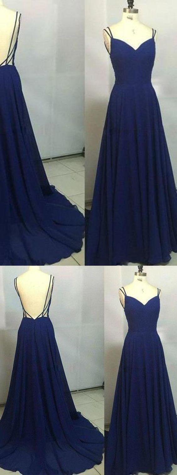 Custom Made Royal Blue Spaghetti Straps Sleeveless Backless Sweetheart Prom