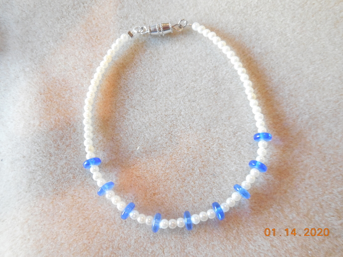 "Pearl and Blue Glass Necklace and Bracelet Set for 18"" Doll"