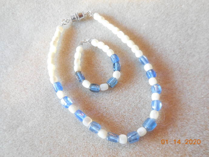 """Blue Glass Rectangle and Pearlized Bead  Necklace and Bracelet Set for 18"""" Doll"""