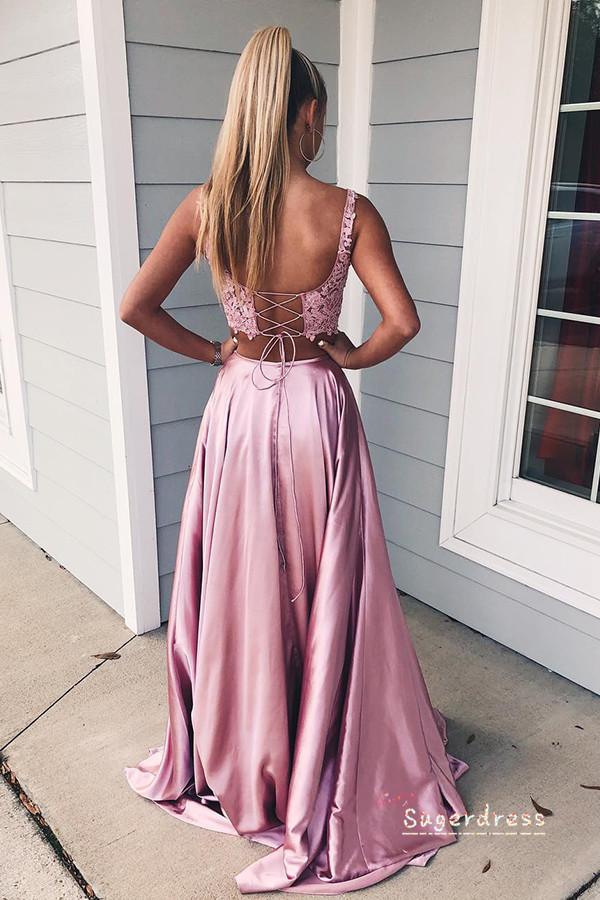 Simple Two Piece Lace-Up Prom Dress with Pockets 8000916