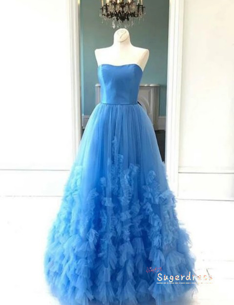 Strapless Embellished Ball Gown Blue Prom Dress 8001356