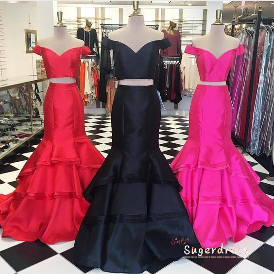 Off the Shoulder Two Piece Ruffled Prom Gown 8001358