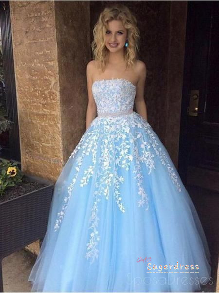 Princess Beaded Waist Strapless Lace Prom Dress 1001229489