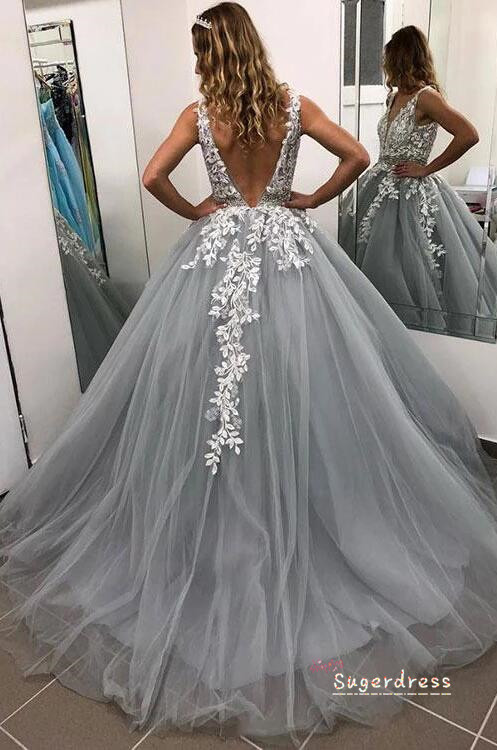 Lace Appliqued Illusion V Prom Gown SDPD-0167