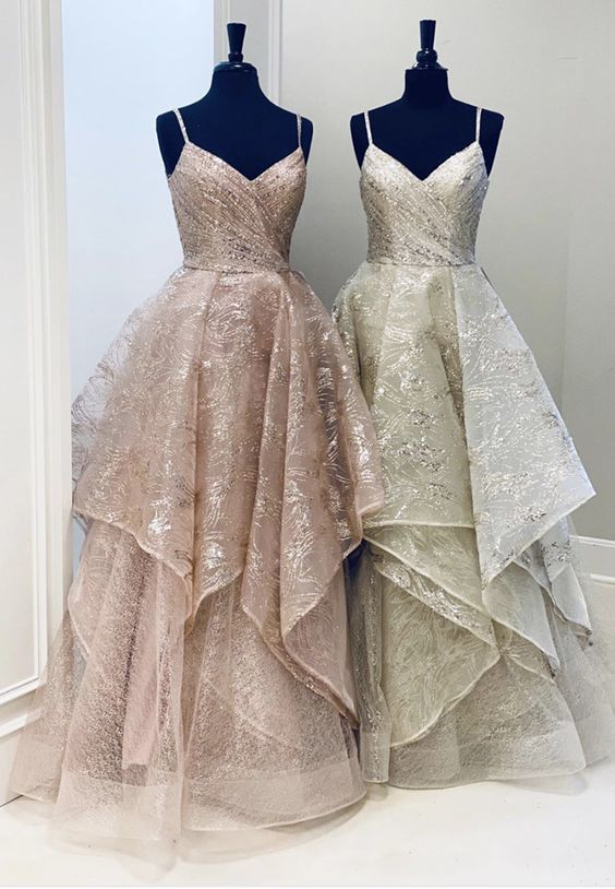 Custom made a line tulle sequin long prom gown    ML6049
