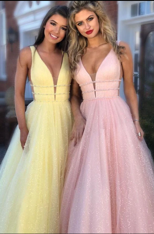 Gorgeous Deep V Neck Prom Dresses Evening Dresses Beading,2066
