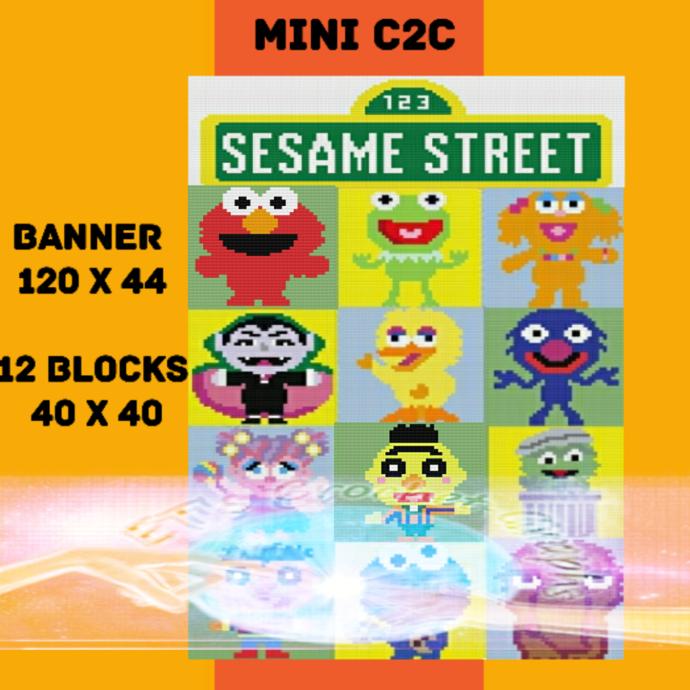 Sesame Street Mini C2C Bundle 13 Patterns with Color Charts