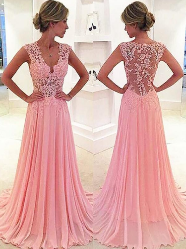 V-neck A-Line/Princess Elegant Chiffon Prom Dresses