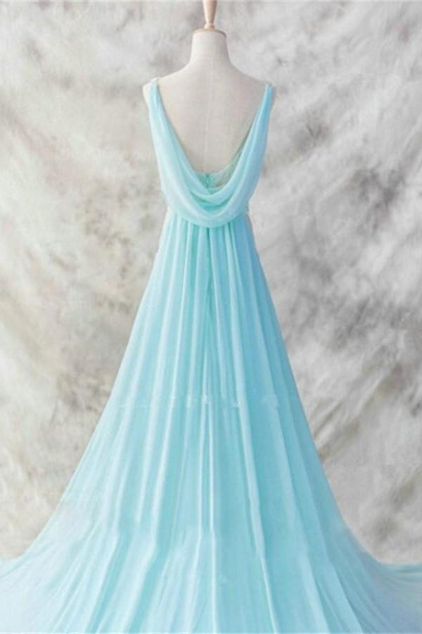 Ice Blue Simple Deep V-neck Beaded Open Back Prom Dresses