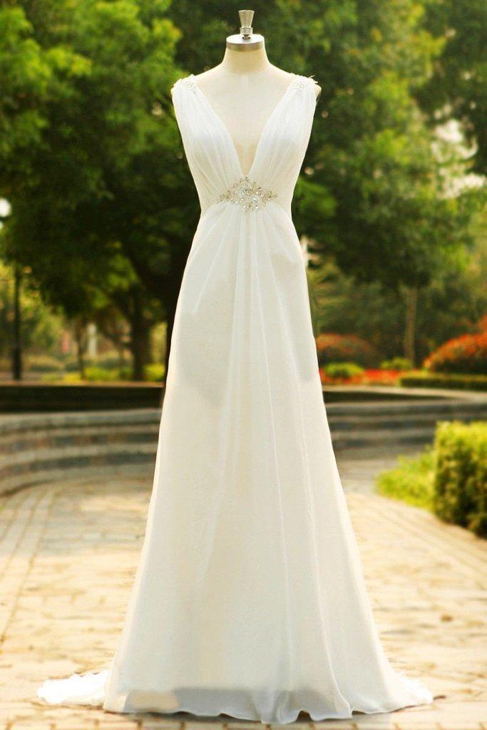 Deep V-neck Long Simple Cheap Elegant Prom Dresses