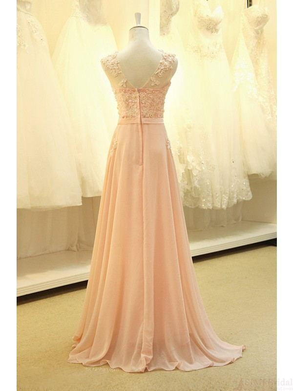Modest Blush Pink Pretty Long Lace Cap Sleeves Prom Dresses