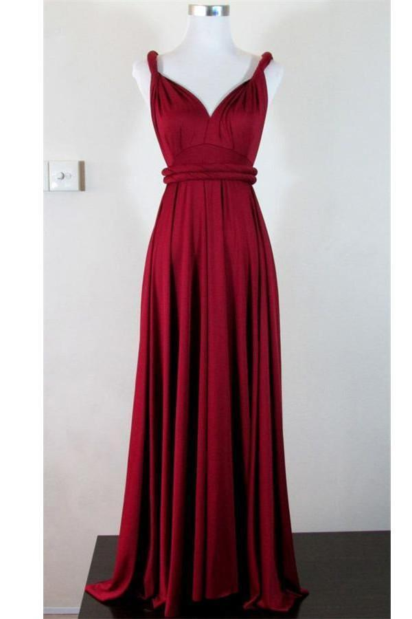 Pretty V-neck Simple Cheap Long High Low Charming Prom Dresses