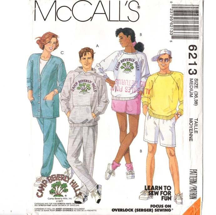 McCall's 6213 Men/Misses Cardigan, Hoodie, Shorts, Pants  90s Vintage Sewing