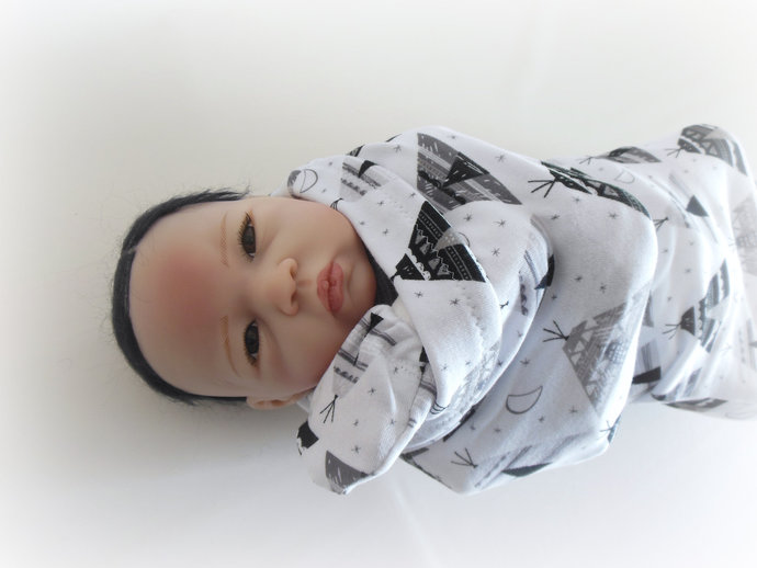 Swaddle Sack, Sleep Sack, Cocoon and Scratch Mittens in Teepees Blac & Gray