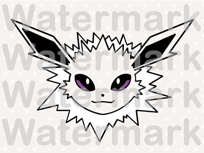 Jolteon SVG files, Jolteon face svg, eps, dxf files for cricut, Cutting
