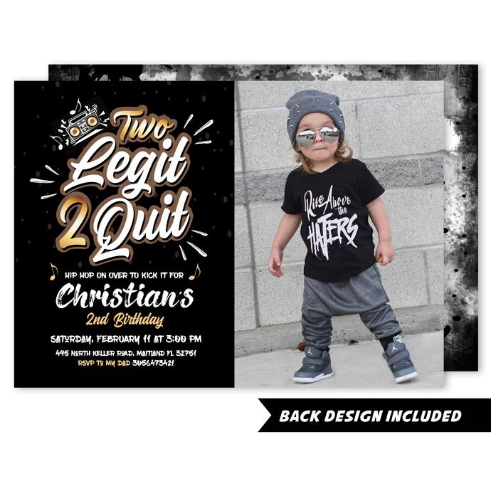 Two Legit 2 Quit Photo Invitation, Printable Invite, Second Birthday, Hip Hop