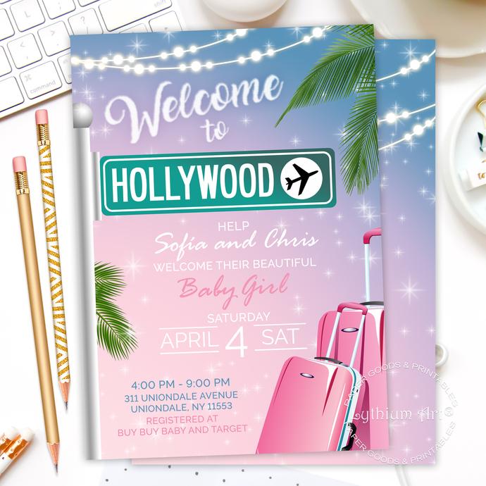Travel Baby Shower Invitation, Printable Invite, Adventure Awaits Baby Shower,