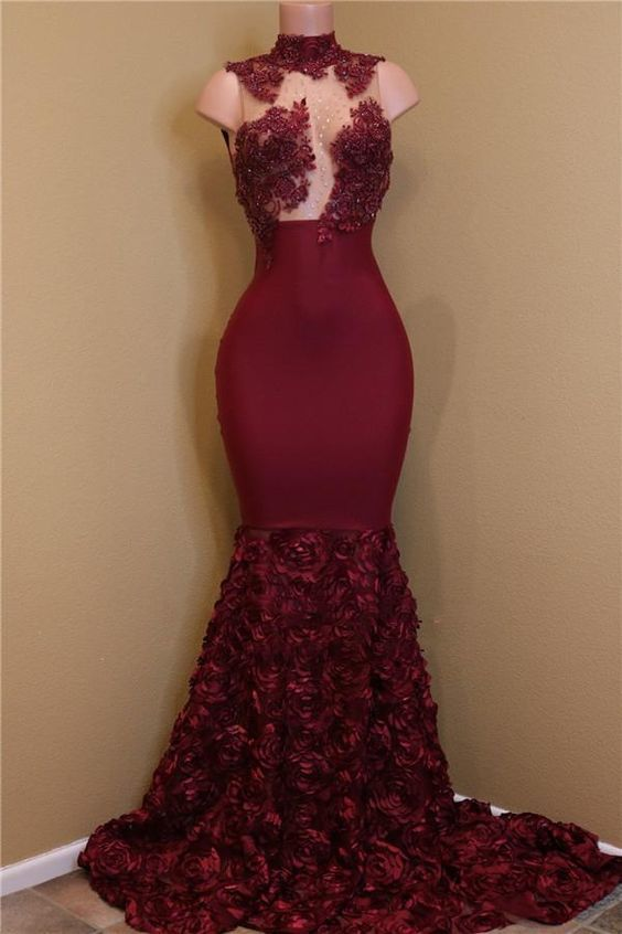 Unique Prom Dresses, 2020 New Arrival Mermaid Burgundy High Neck Rose Ruffles