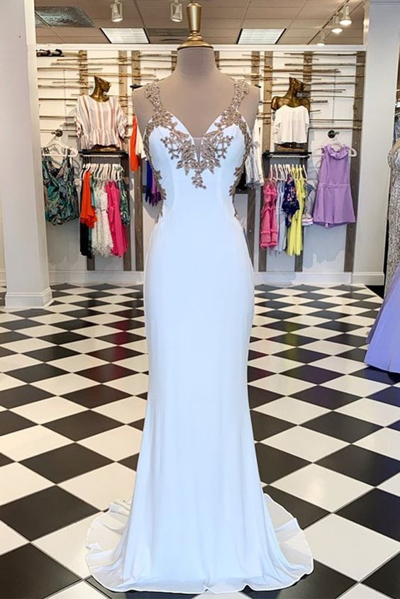 White V Neck Long Customize Mermaid Dress Prom Dress With Applique   ML6056