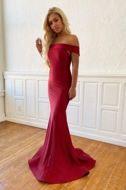 Classic Burgundy Off Shoulder Fitted Prom Dress   ML6062