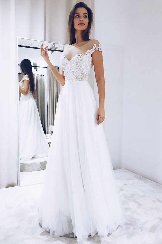 White Tulle Wedding Dresses with Lace    ML6063