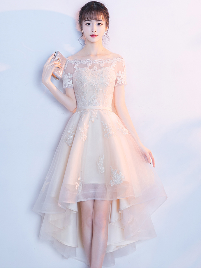Light Champagne High Low Tulle with Lace Party Dress, Homecoming Dress 2020