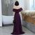 Purple Chiffon Slit Off Shoulder Long Party Dress, Elegant Prom Dress