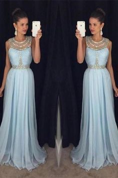 Light blue chiffon round neck sequins long formal dresses evening dress   ML6073