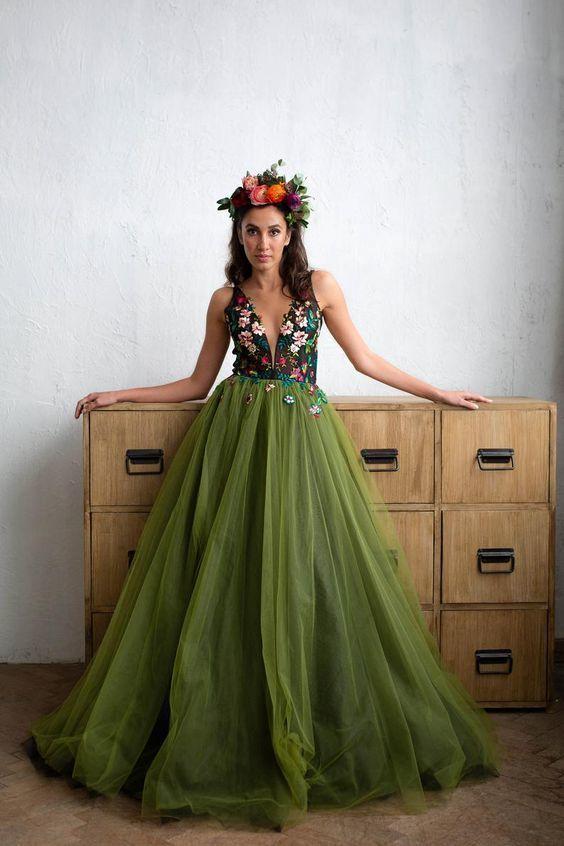 A-Line Prom Dresses, Evening Dresses With Appliques ,2077