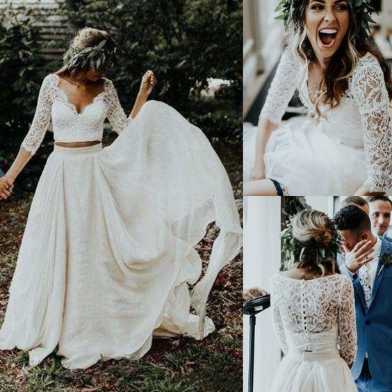 A Line Cheap Lace Chiffon Bohemian Country Half Sleeve Prom Dress,2079