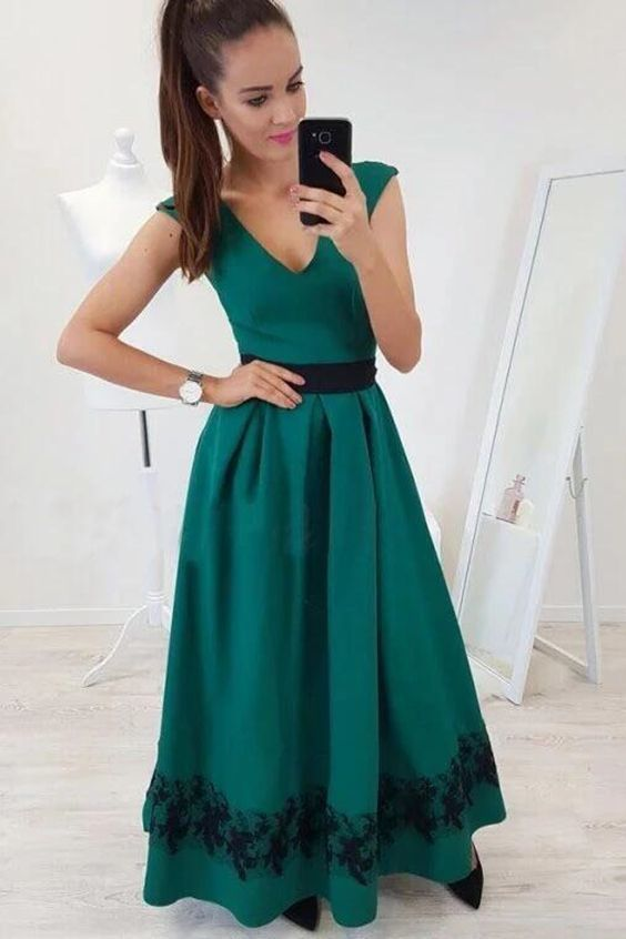A-Line V-Neck Cap Sleeves Floor-Length Dark Green Prom Dress with Lace