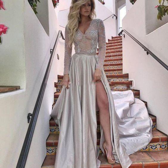 Prom Dresses Elegant, Newly A Line V Neck See Through Side Slit Long Lace,2083