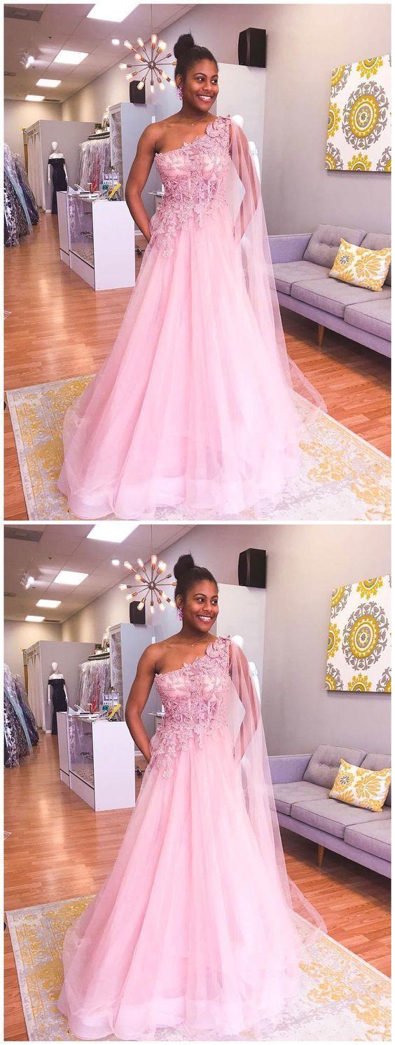 Prom Dresses Split, One Shoulder Pink Prom Dresses Appliqued Train Evening