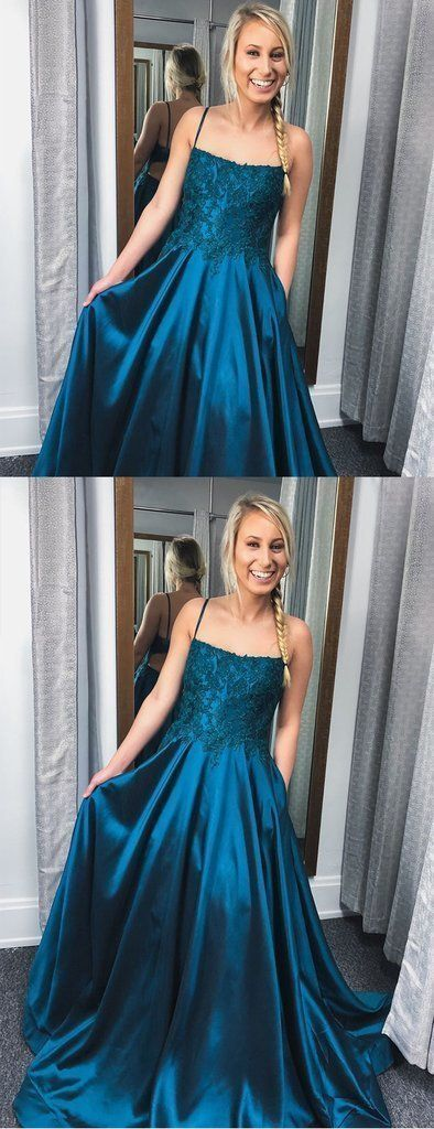 Cute Prom Dress, Teal Satin Lace Spaghetti Strap Open Back A-Line Prom