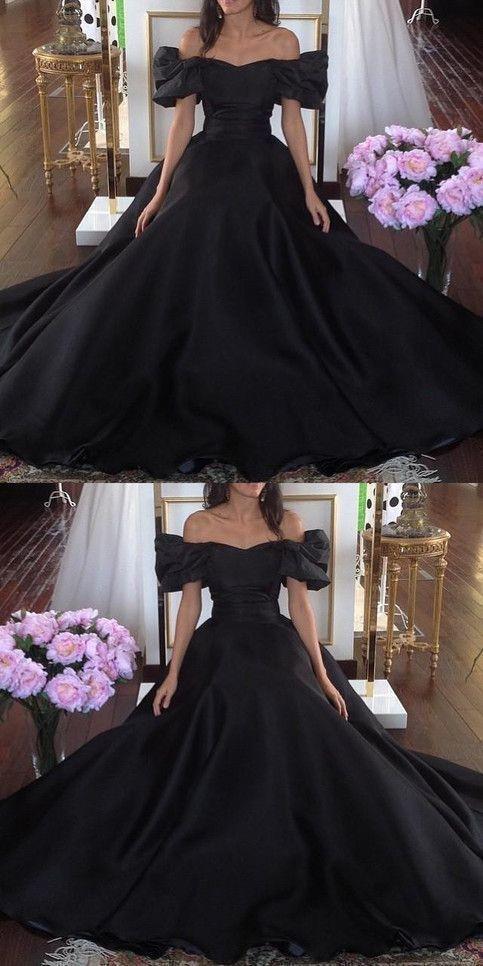 Black formal party dress, off shoulder prom dress, long evening dress,2089