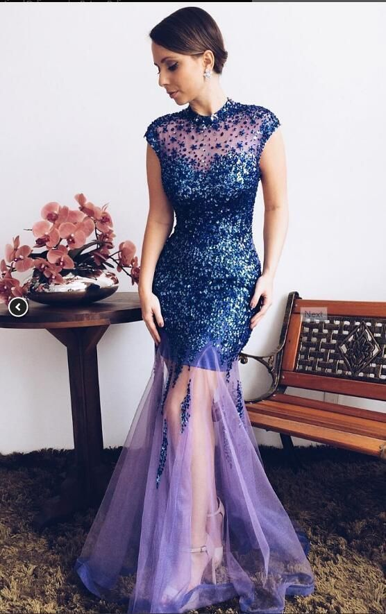 Blue dress with round neck evening gown and net dress,2090