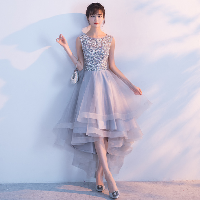 Grey Sequins High Low Tulle Party Dress, A-line Prom Dress 2020
