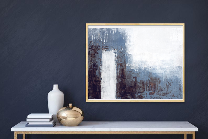 artwork, Abstract Art, blue Horizontal abstract, Minimalist Wall Art, , Coastal