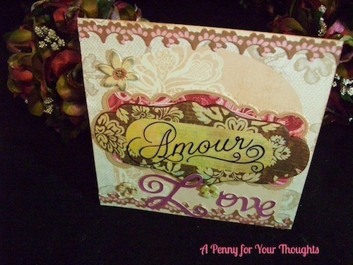 Amour Love  Handmade Original Valentine Ready to Ship