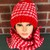 Red and Pale Pink Houndstooth Crochet Hat and Scarf Set
