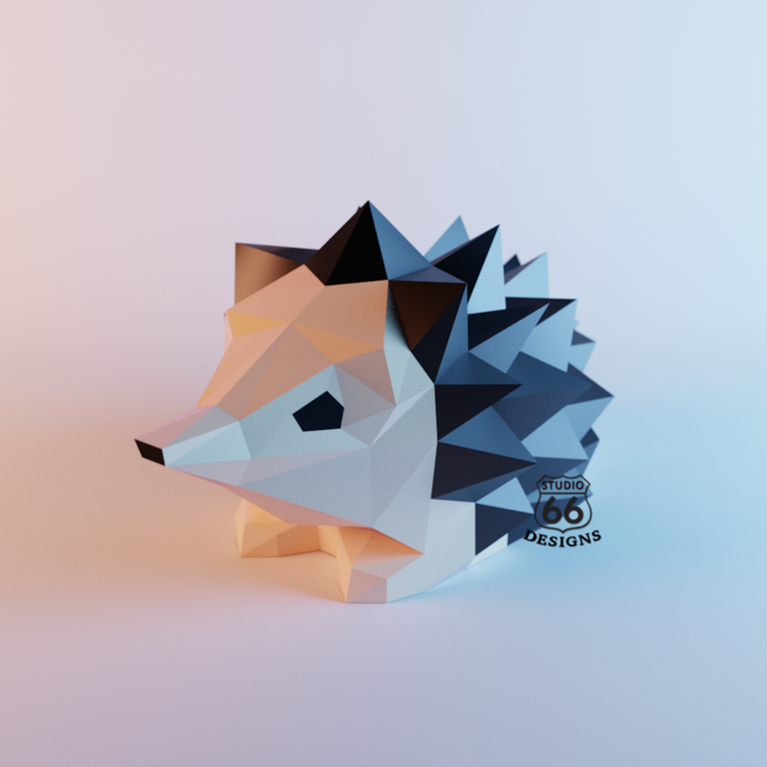 Hedgehog Papercraft, Papercraft Hedgehog Statue, Hedgehog DIY Sculpture,