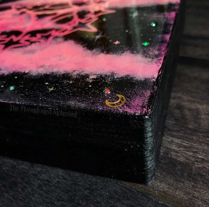 Lg UFO Crystal Grid Altar Box - Hand painted