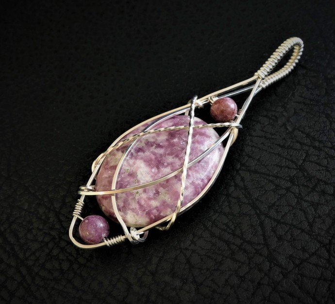 Lepidolite Sterling Silver Pendant  -  Wire Wrapped Jewelry (P141)