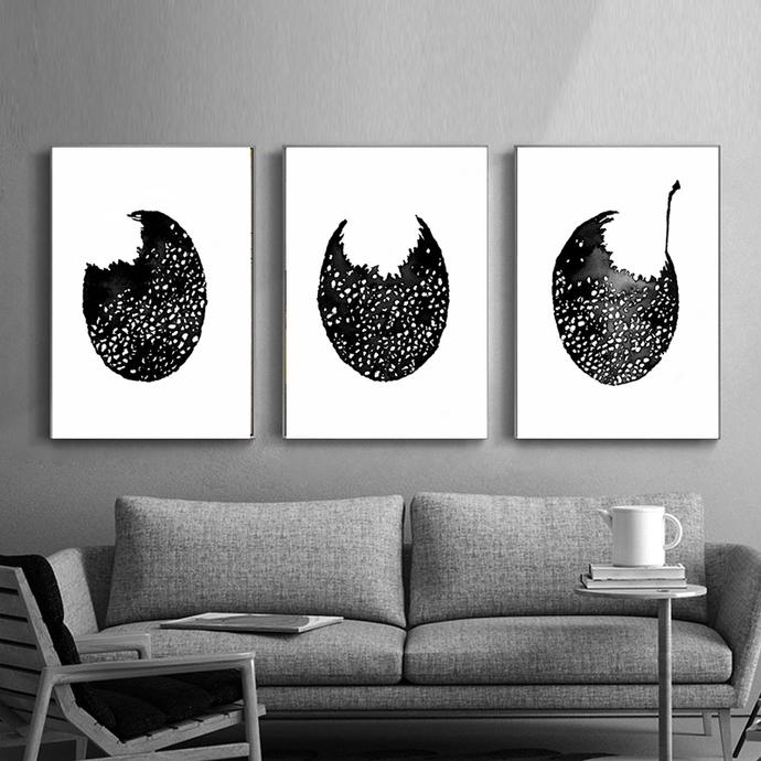 Set of 3 Prints, Abstract Art Print Set, 3 Abstract Prints, Black Ink Wall Art,