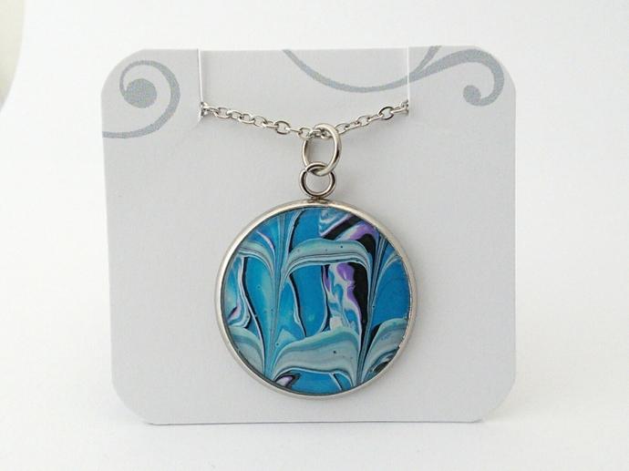 Blue Fluid Art Pendant