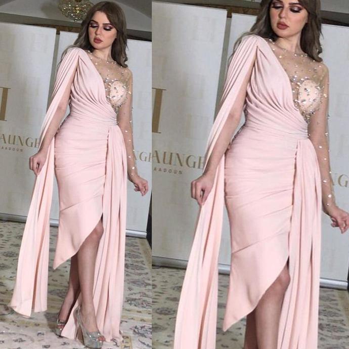 arabic evening dresses short beaded mermaid Dubai fashion pink elegant sexy